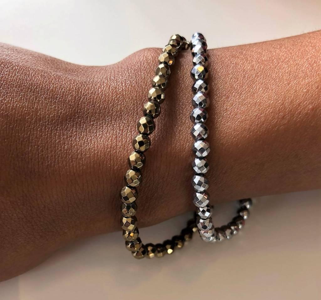 Gold + Stone Disco Bracelet - Multiple Colors