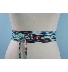 Sarah Bibb Mini Obi Belt- Aqua Painterly