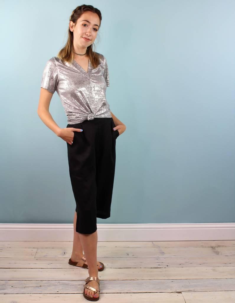 Whimsy Vela Culotte - Black Linen