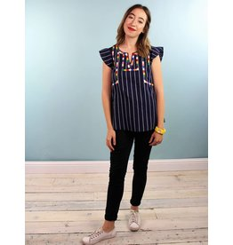 Leah Top - Navy Stripe