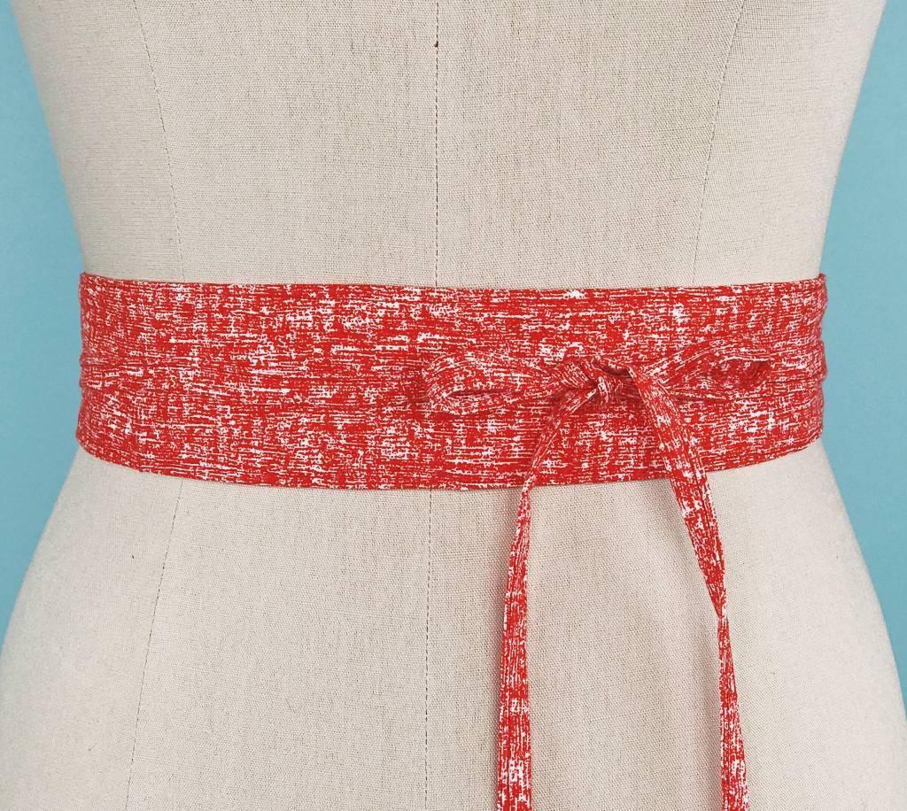 Sarah Bibb Mini Obi Belt-  Red Blur
