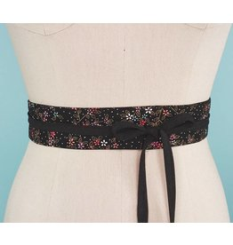 Sarah Bibb Mini Obi Belt-  Nightbloom with Coal Ties