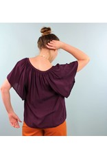 Velvet Teena Flutter Top - Wine
