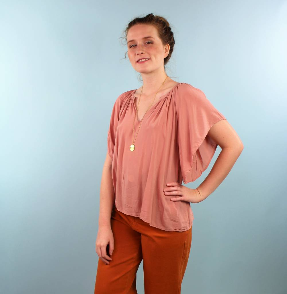 Velvet Teena Flutter Top - Dusty Acorn