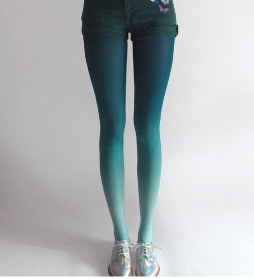 BZR Hand Dyed Ombre Tights - Mermaid