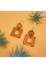 Ink & Alloy Lucite Square Dangle - Amber