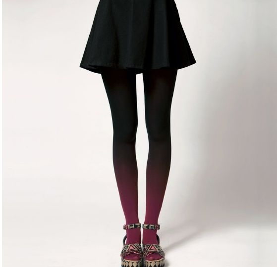 BZR Hand Dyed Ombre Tights - Vamp