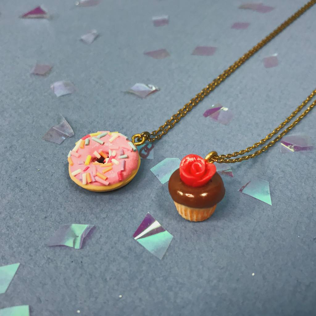 Peter and June Cupcake & Donut Necklaces