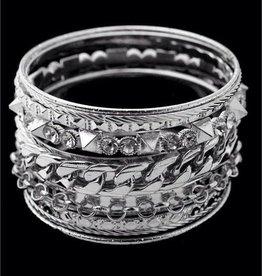 Rhodium Multi Line Bracelet