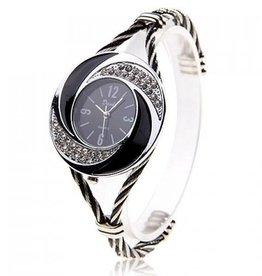 Black And Silver Rhinestone Watch