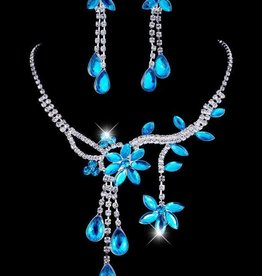 Blue Crystal Flower Necklace Set