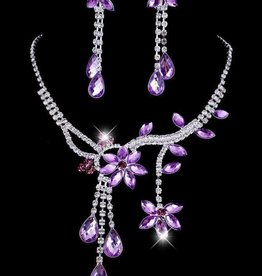 Purple Crystal Flower Necklace Set