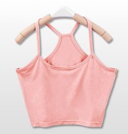 Pink Y Back Crop Tank Top