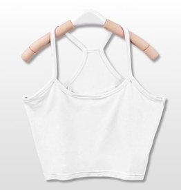 White Y Back Crop Tank Top