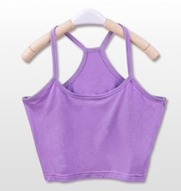 Purple Y Back Crop Tank Top