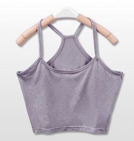 Gray Y Back Crop Tank Top