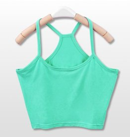 Mint Green Y Back Crop Tank Top