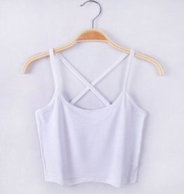 White Cross Back Crop Tank Top