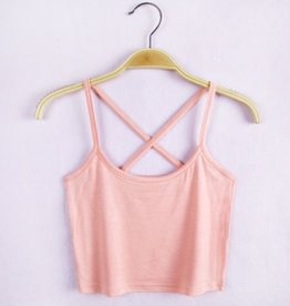Pink Cross Back Crop Tank Top