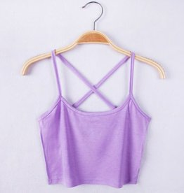 Purple Cross Back Crop Tank Top