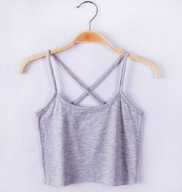 Gray Cross Back Crop Top Tank Top