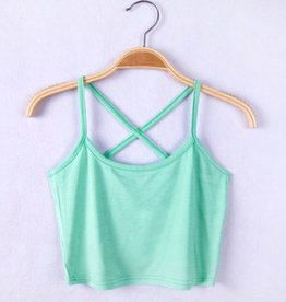 Mint Green Cross Back Crop Top
