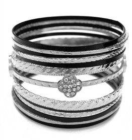 Black Rhodium Multi Line Bracelet