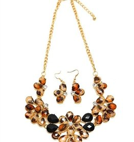 Leopard & Black Flower Necklace & Earrings