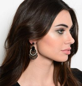 Gold Black White Earrings