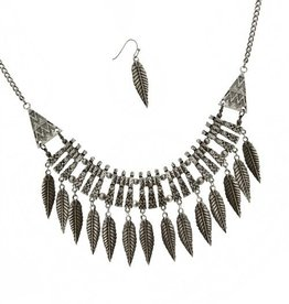 Silver Feather Necklace & Earring Set