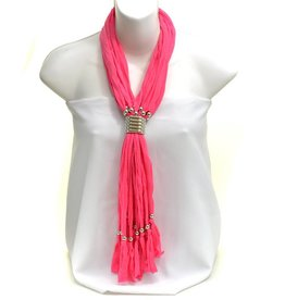 Pink Fringe Beaded Scarf