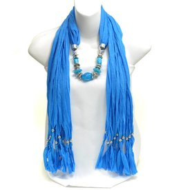 Blue Beaded Fringe Scarf