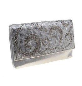 Silver Metallic Crystal Envelope Clutch
