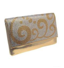 Gold Metallic Crystal Envelope Clutch