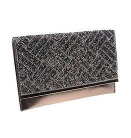 Crystal Embossed Silver Envelope Clutch