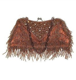 Brown Beaded Fringe Purse