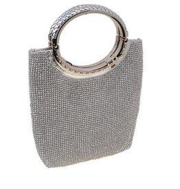 Silver Rhinestone Mesh Clutch