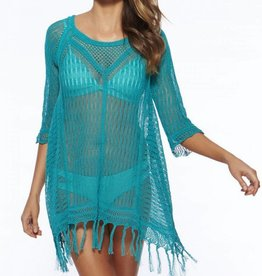 Turquoise Fringe Cover Up