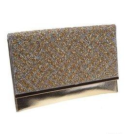 Crystal Embossed Gold Envelope Clutch