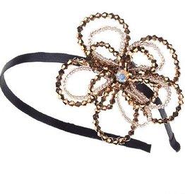 Brown Beaded Flower Headband