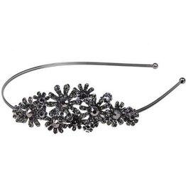 Black Floral Jeweled Headband