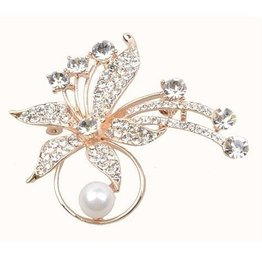 Gold Flower Jeweled Brooch