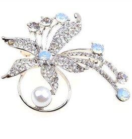 Silver Flower Jeweled Brooch