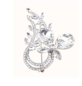 Clear Jeweled Brooch