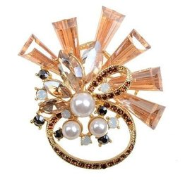 Contemporary Crystal Jeweled Brooch