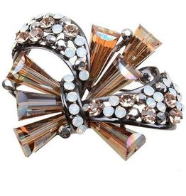 Brown Iridescent Crystal Brooch