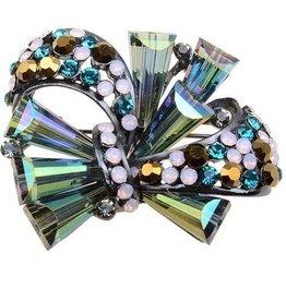 Multicolor Iridescent Crystal Brooch