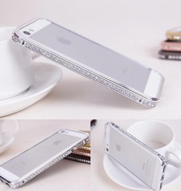 Silver Jeweled iPhone 6 Metal Bumper Case