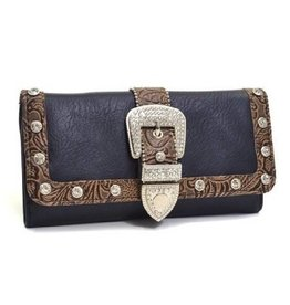 Black Brown Rhinestone Buckle Wallet