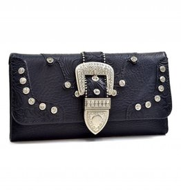 Black Rhinestone Buckle Wallet